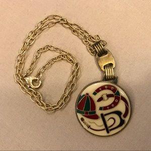 Vintage Jockey Pendant Necklace